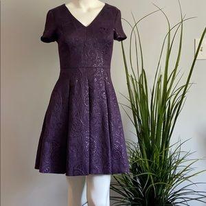 Banana Republic Jacquard Purple Dress